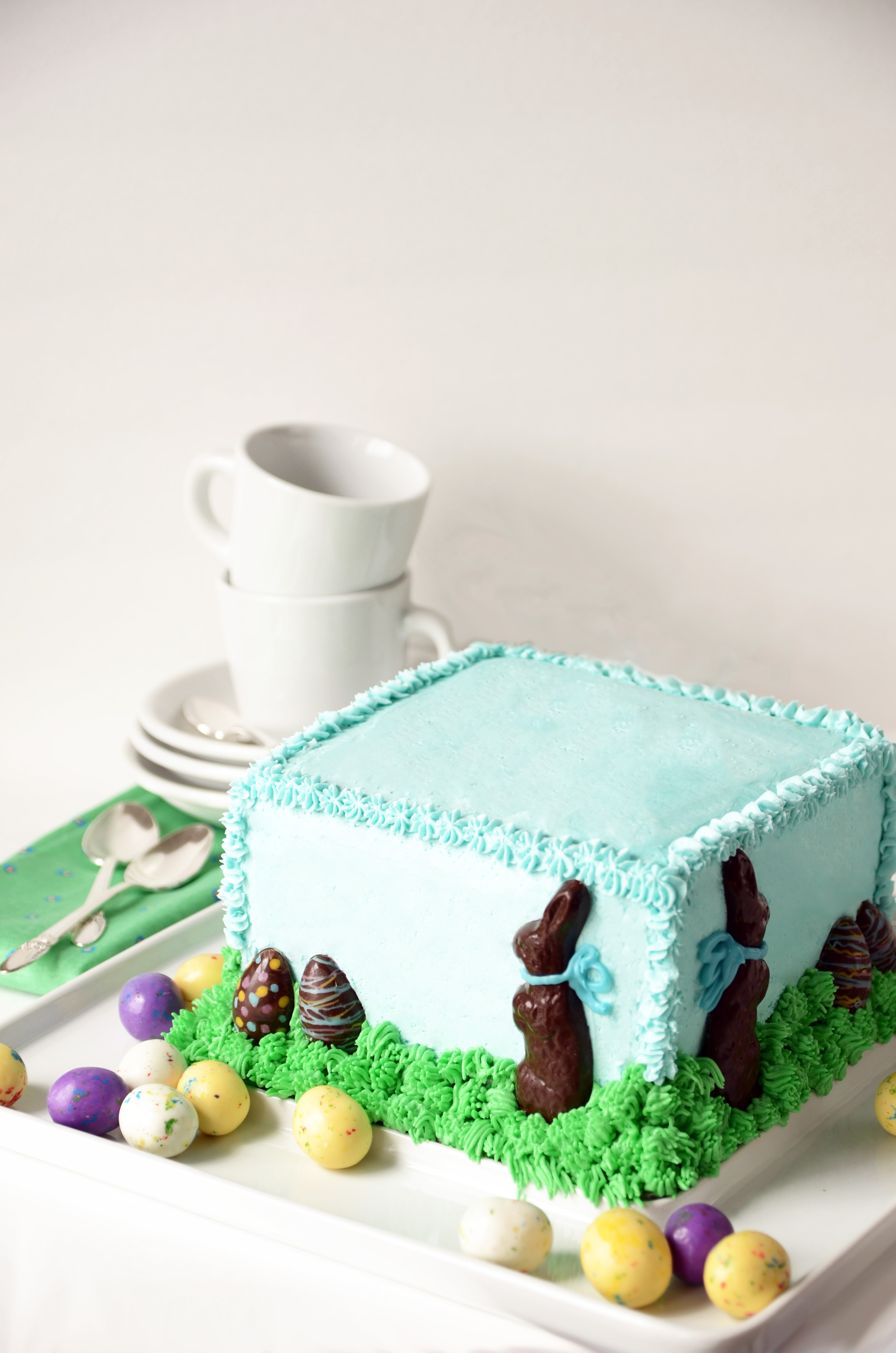 Chocolate Bunny in Grass Cake Vertical4 - Chocolate Easter Bunny Cake