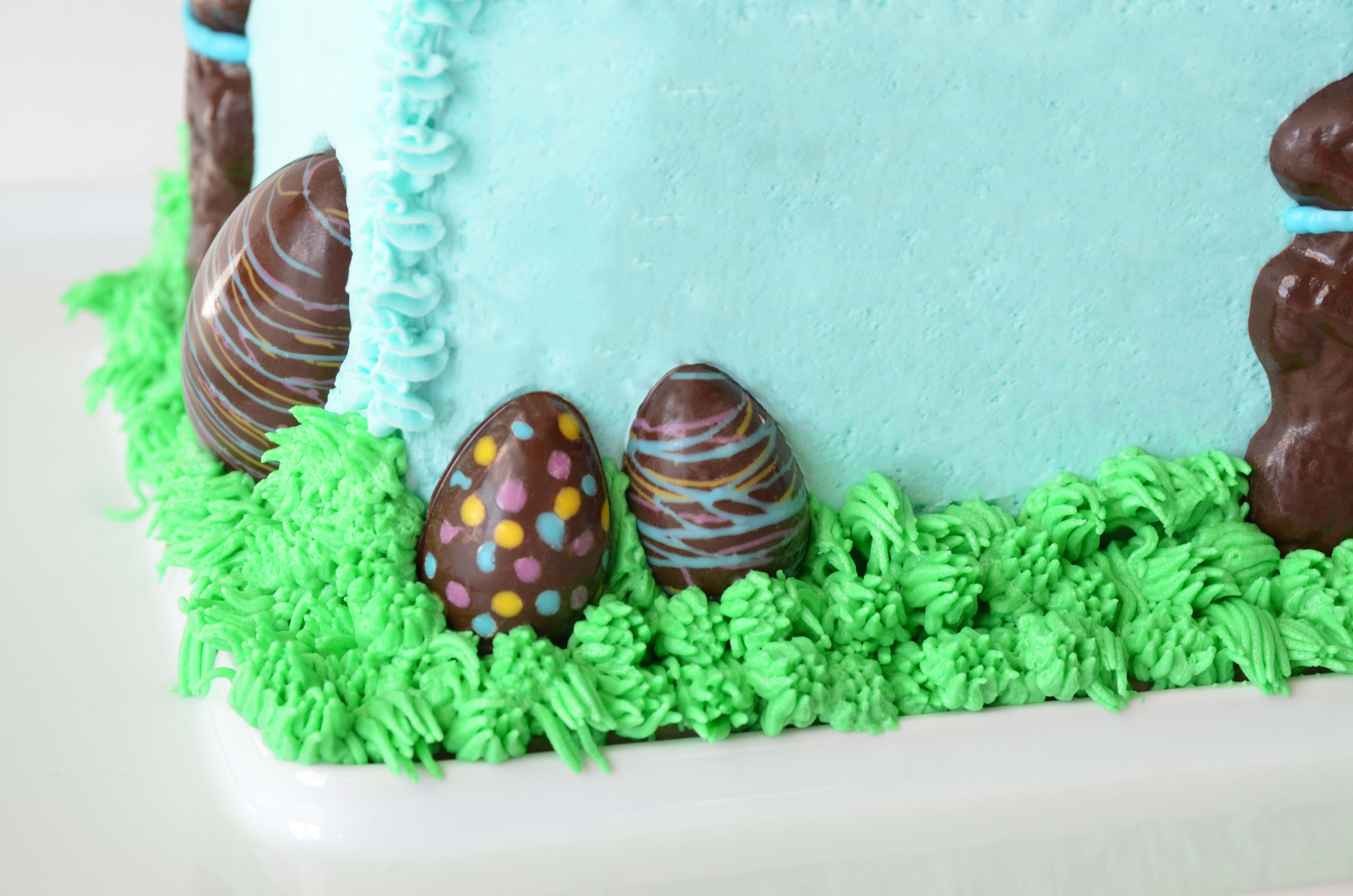 Chocolate Bunny in Grass Egg Closeup2 - Chocolate Easter Bunny Cake