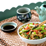 Breakfast Fried Rice with Bacon, Eggs and Asparagus