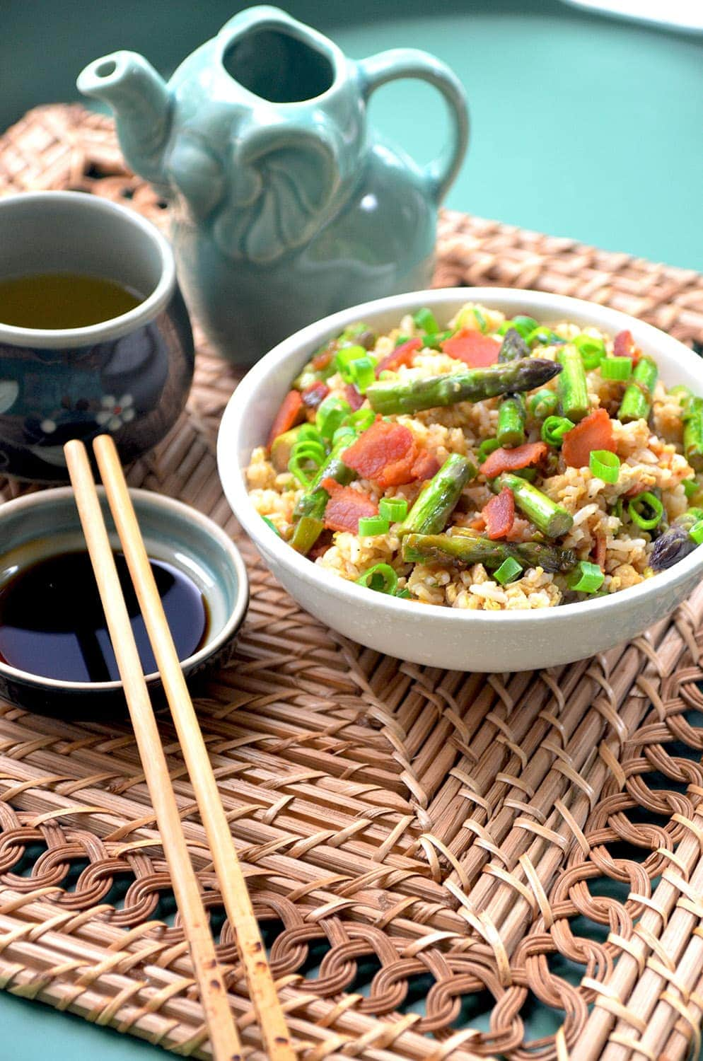 Breakfast Fried Rice Vertical Web - Breakfast Fried Rice with Bacon, Eggs and Asparagus