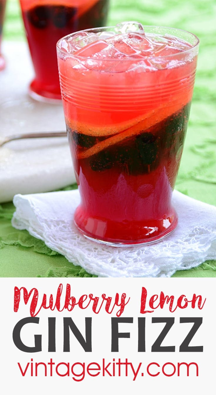 Mulberry Lemon Gin Fizz is a remake of the classic sloe gin cocktail. It's a refreshing beverage made with mulberries, lemon, sugar, gin and club soda. #mulberry #mulberries #cocktail #cocktailhour #happyhour #gin #ginfizz #lemon