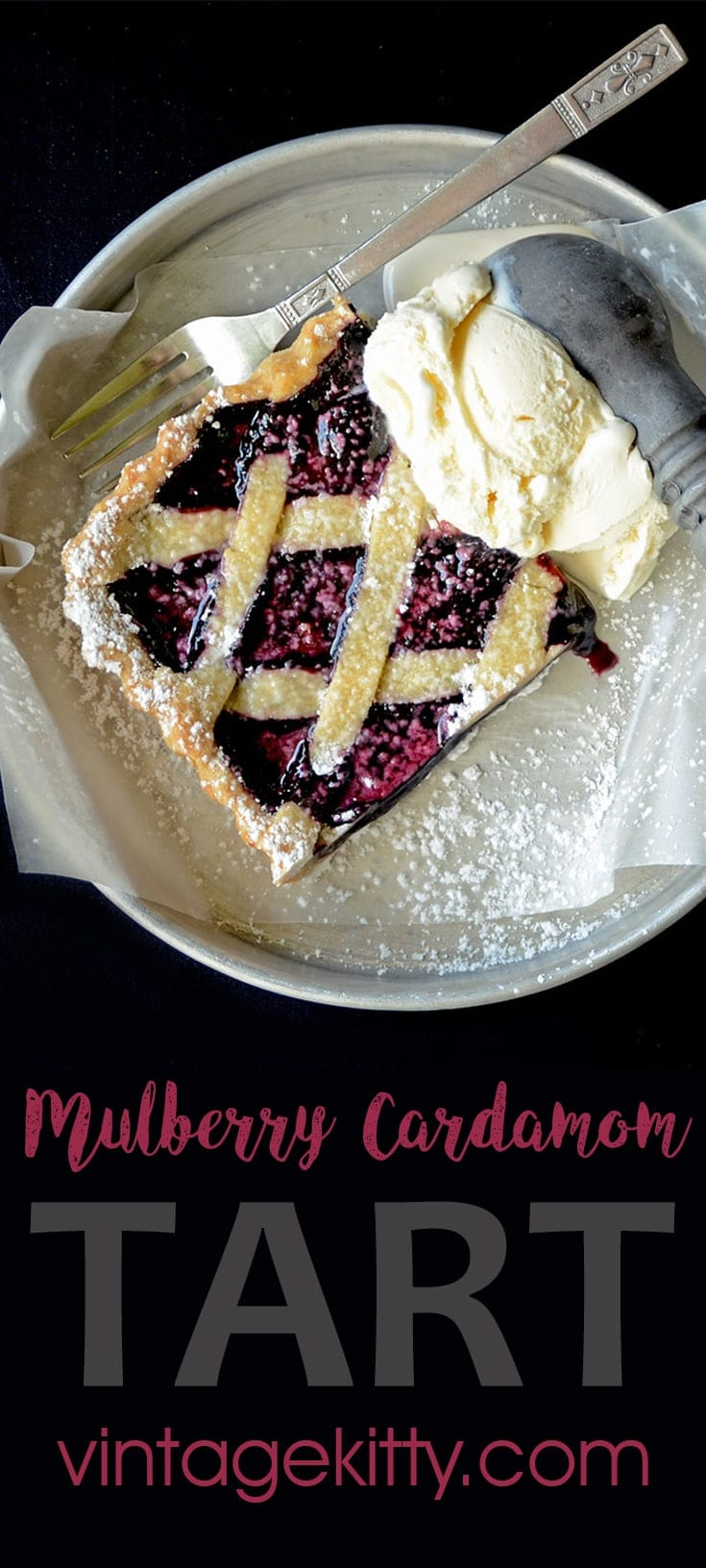 Inspired by classic linzer torte, this Mulberry Tart evokes the simplicity of days gone by. It's fruity, sweet, buttery and heaven with vanilla ice cream. #mulberry #mulberries Tart #dessert #cardamom