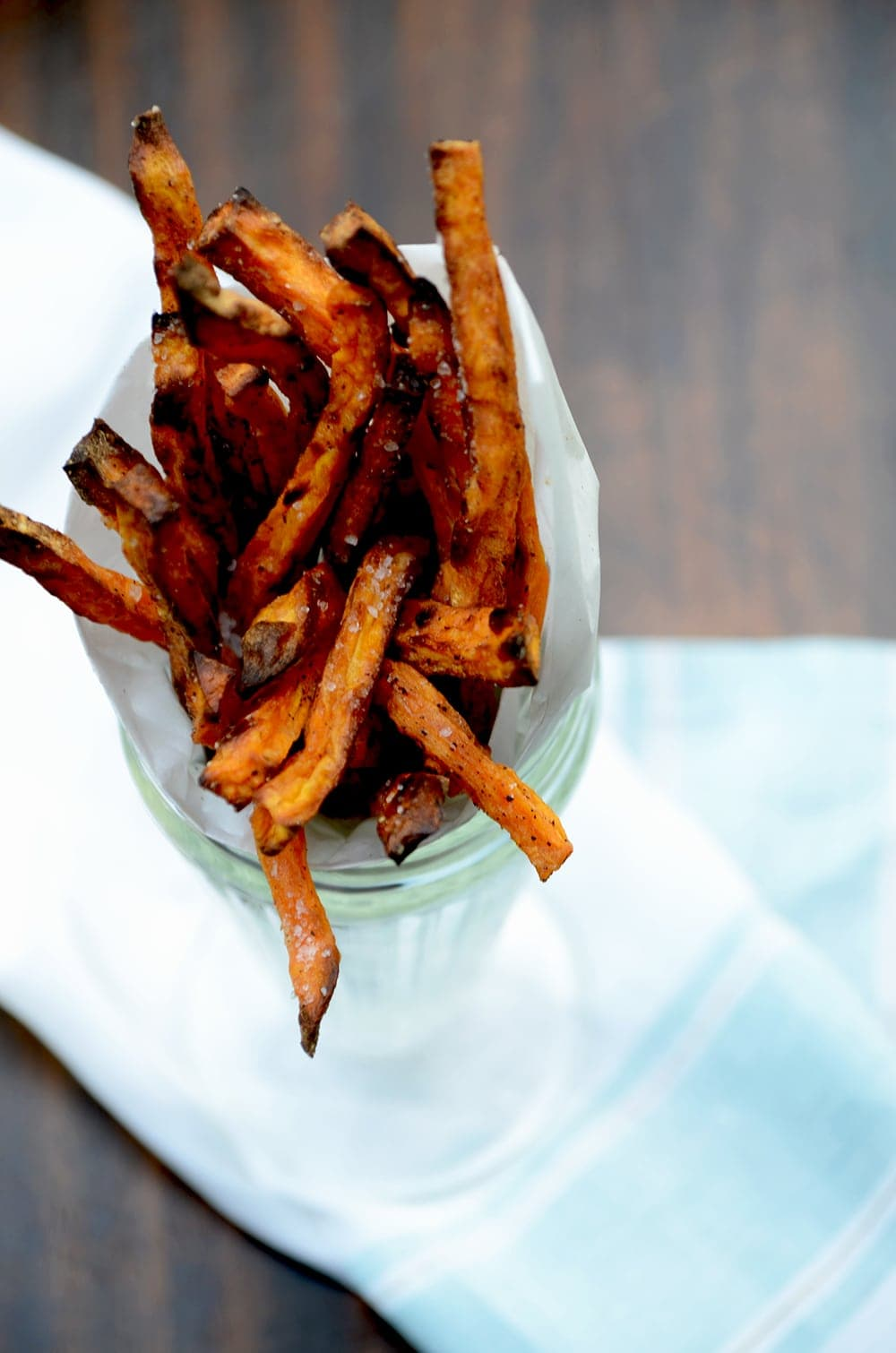 Sweet Potato Fries CLoseup Web - Baked Sweet Potato Fries with Sweet Tarragon Mustard Aioli