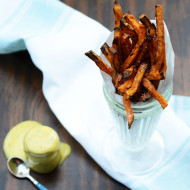 Baked Sweet Potato Fries with Sweet Tarragon Mustard Aioli
