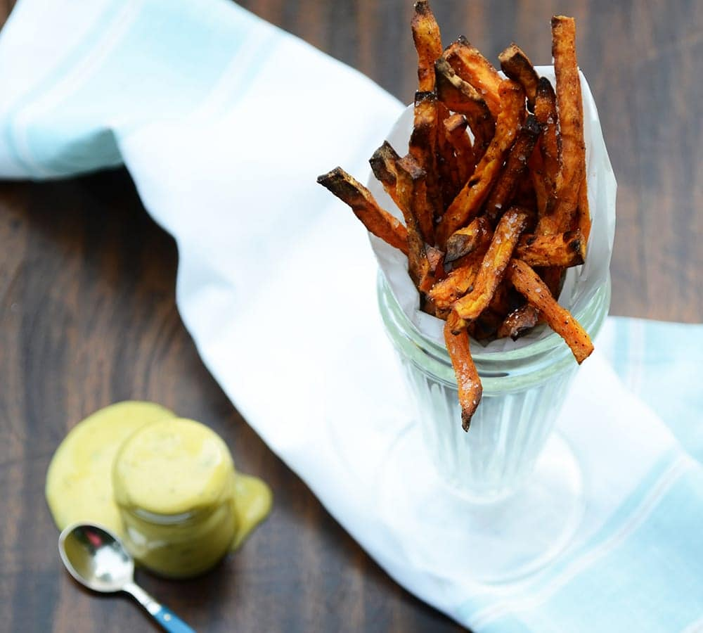 This delicious, made from scratch, duo is naturally sweet, salty and savory and a great addition to your summer grilling menu. Pass the sweet potato fries and aioli please!