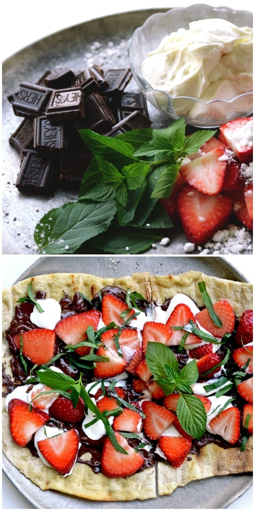 Strawberry Pizza - Chocolate Strawberry Mint Dessert Pizza