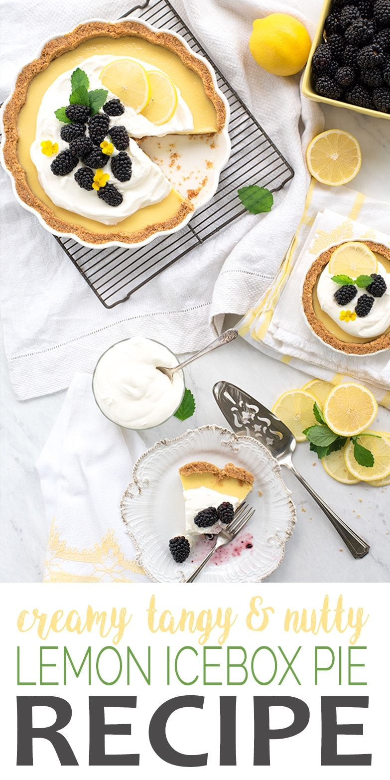 Lemon Icebox Pie is just what summer ordered! It's sweet, tart, creamy, nutty and best served cold! Top with fruit and whipped cream for extra wow! #iceboxpie #lemonpie #dessertrecipe #summerrecipes #lemon #pie