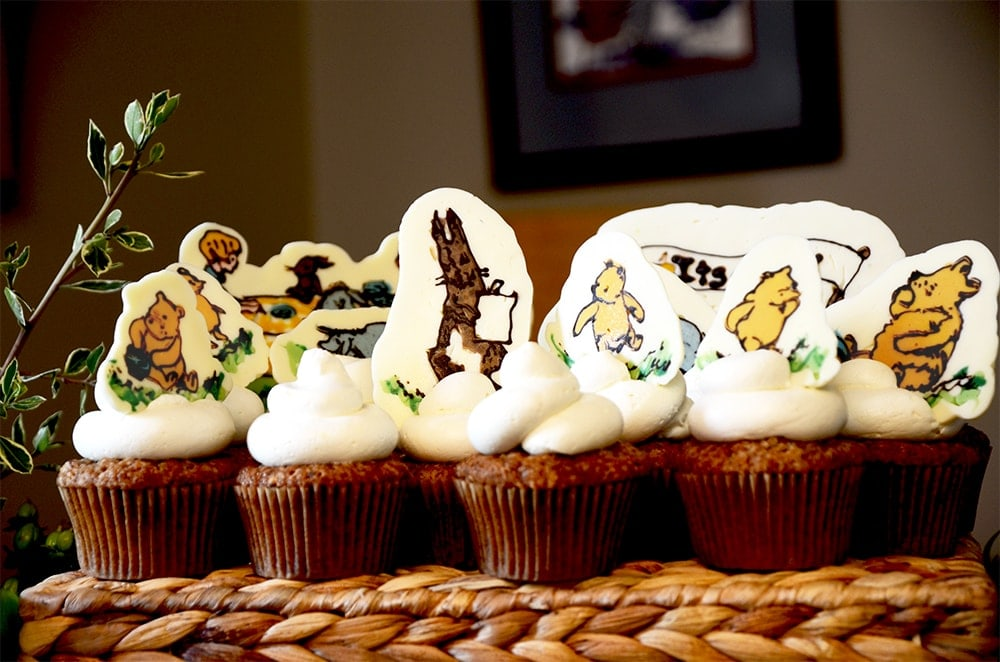 Pooh Cupcakes Web - Winnie the Pooh Baby Shower Dessert Buffet