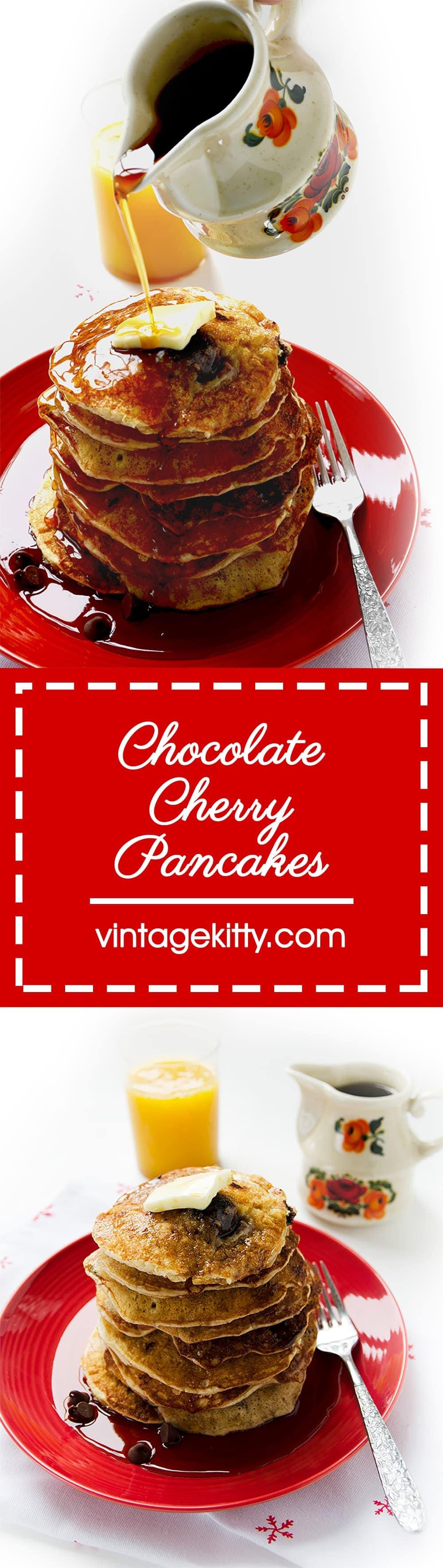 Chocolate Cherry Pancakes Pin - Chocolate Cherry Pancakes