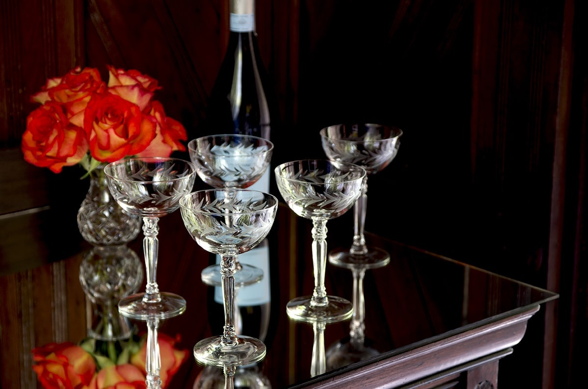 Fostoria Holly Find of the Week Web - Find of the Week- <br/>Fostoria Holly Champagne Coupes
