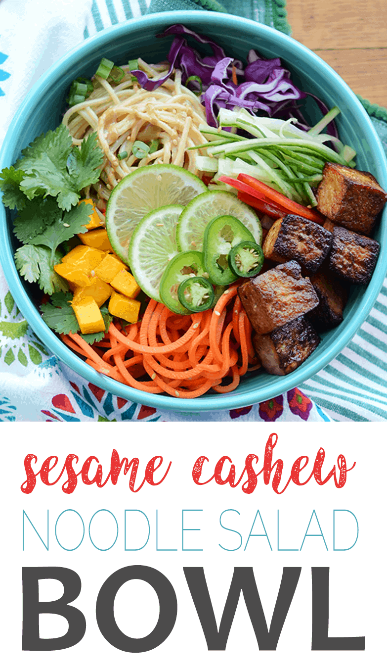 Sesame Noodle Salad Bowls with Cashew Dressing are ripe for summer! They are loaded with a rainbow of colorful fruits and vegetables. #flexitarian #Sesame #noodlebowl #recipe