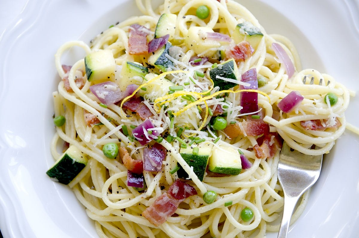 Summer Pasta Closeup - Easy Summer Garden Pasta