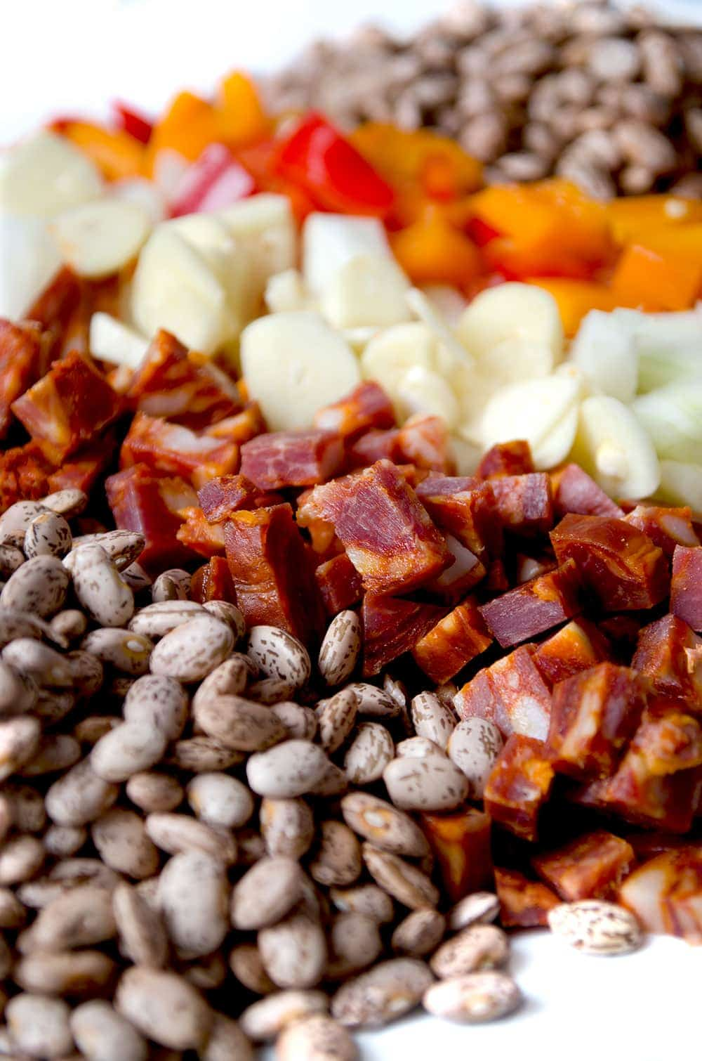 Chorizo Beans Ingredients Web - Chorizo Pinto Beans {Dutch Oven and Slow Cooker Instructions}