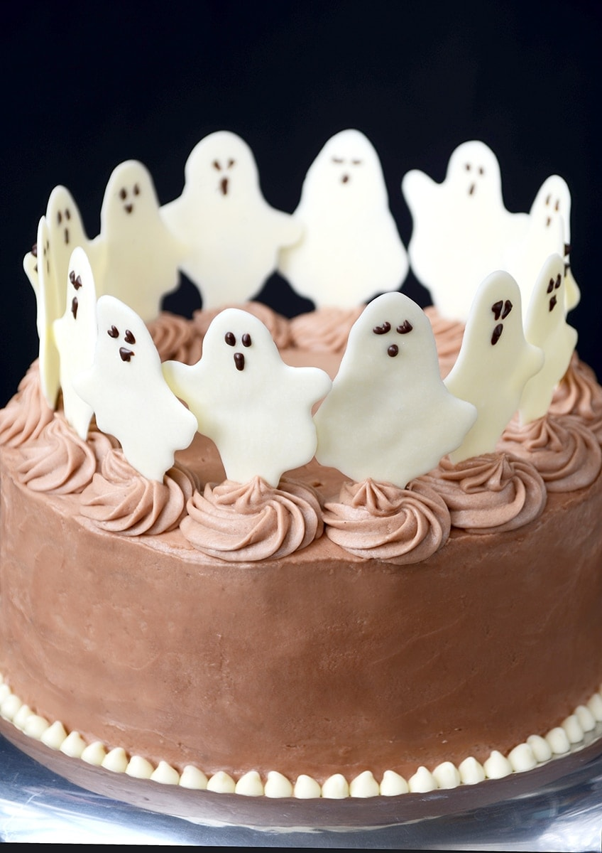 Dancing Ghosts Cake CLoseup Web - Dancing Ghosts Chocolate Coconut Cake