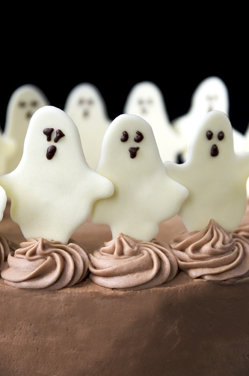 Dancing Ghosts Vertical Web - Dancing Ghosts Chocolate Coconut Cake