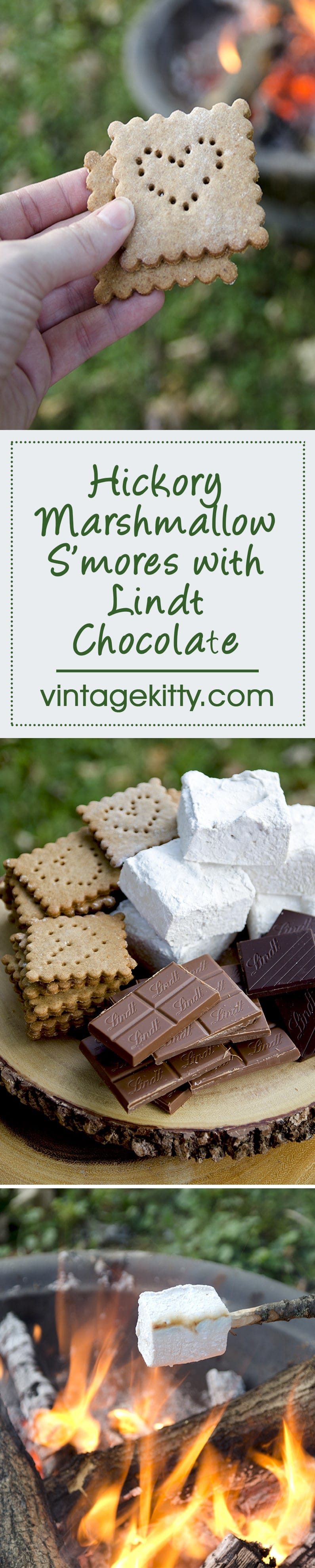These foodie Hickory Marshmallow S'mores with Lindt Chocolate are an exquisite #Choctoberfest treat. Marshmallows & graham crackers made from scratch! LOVE! | vintagekitty.com