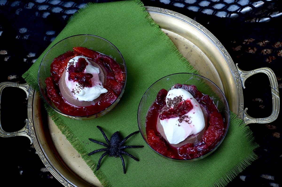 Panna Cotta with Spider Web - Chocolate Panna Cotta with Blood Oranges