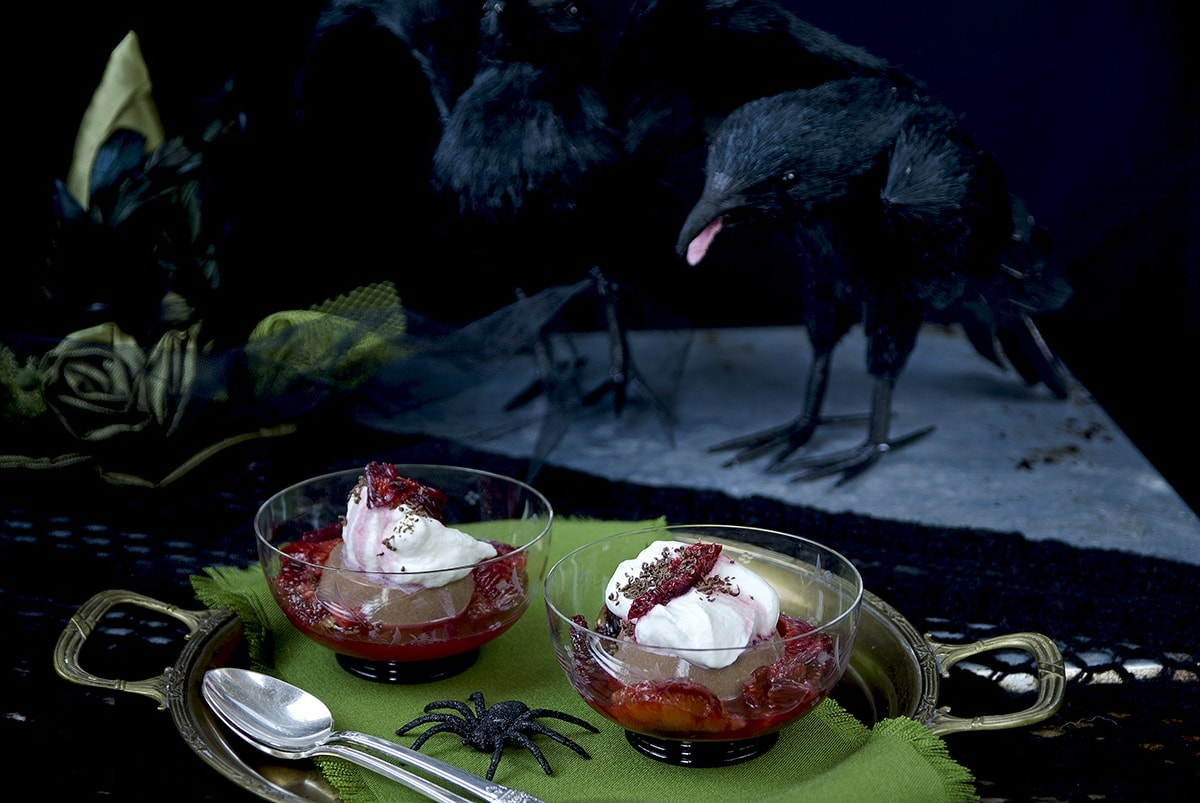 Panna cotta with crows Web - Chocolate Panna Cotta with Blood Oranges