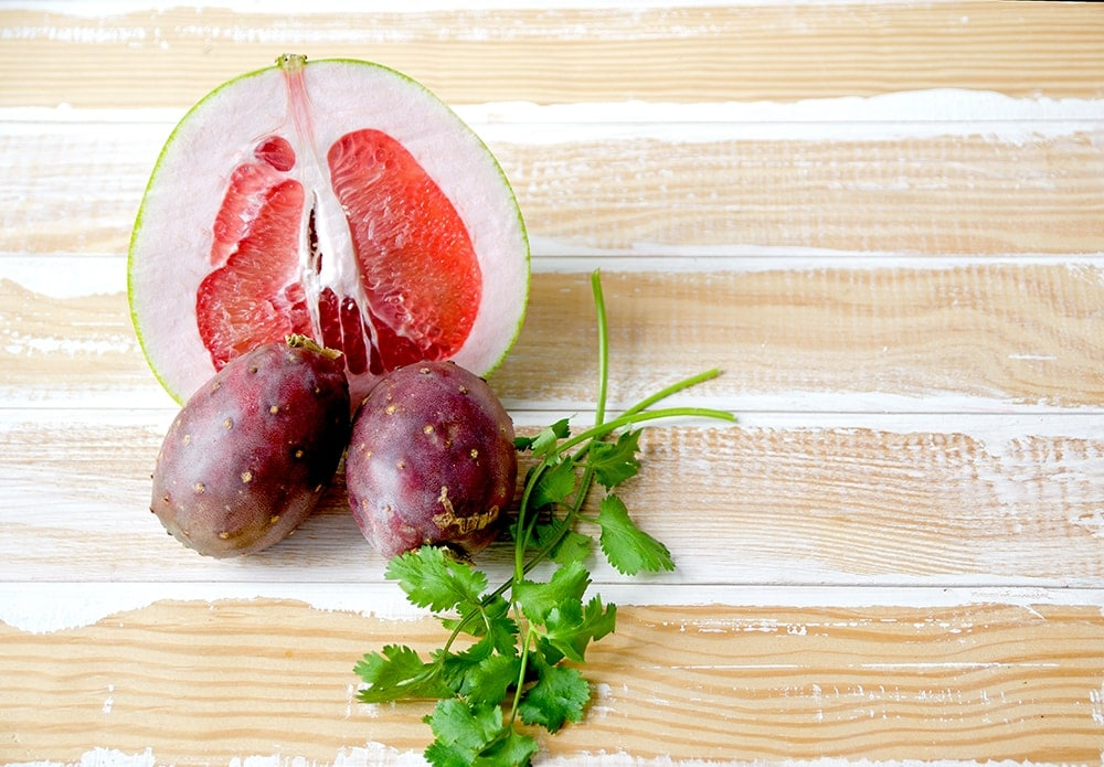 Prickly Pear Hard Cider Cocktail Ingredients Web - Prickly Pear Hard Cider Cocktail </br>with Cilantro and Pomelo