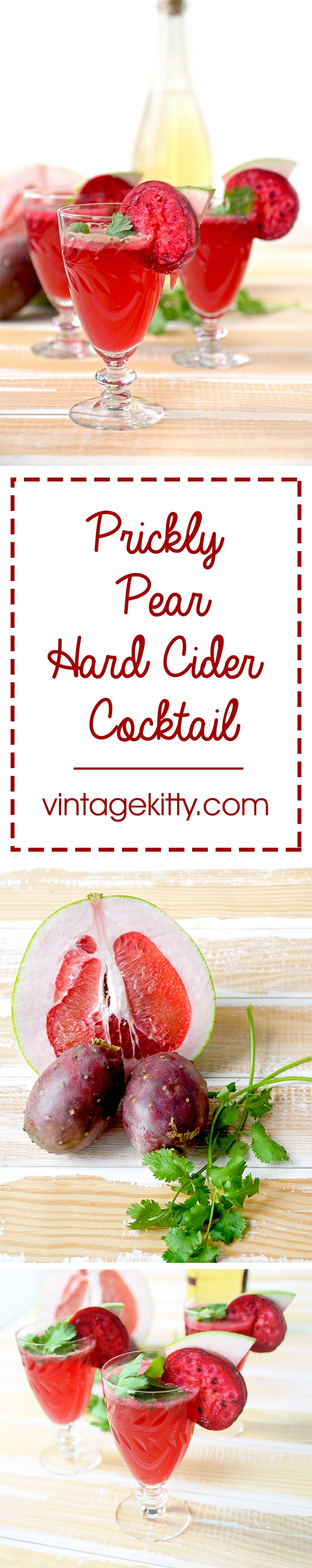Refreshing, fruity and unique, this Prickly Pear Hard Cider Cocktail with Cilantro and Pomelo tastes as good as it looks. | vintagekitty.com