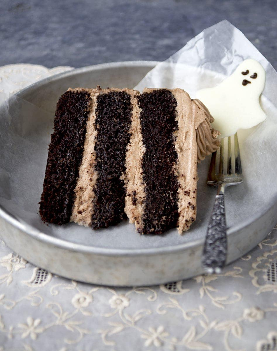 Boo! Dancing ghosts are the cutest Halloween cake topper EVER! Mocha coconut buttercream tops layers of fudgey chocolate coconut cake. HAUNTINGLY DELICIOUS! | vintagekitty.com