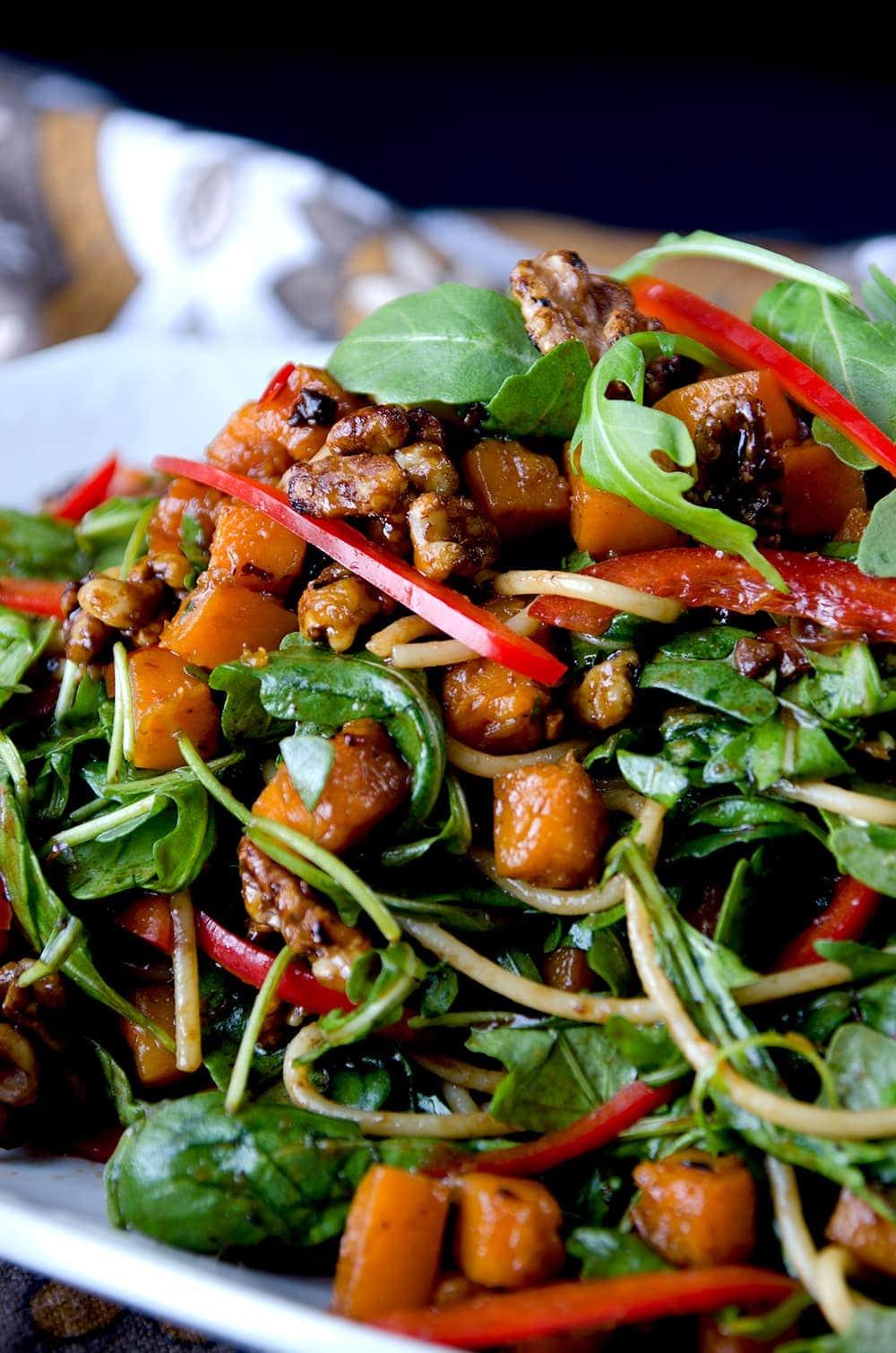 Autumn Asian Noodle Salad Closeup - Autumn Asian Noodle Salad