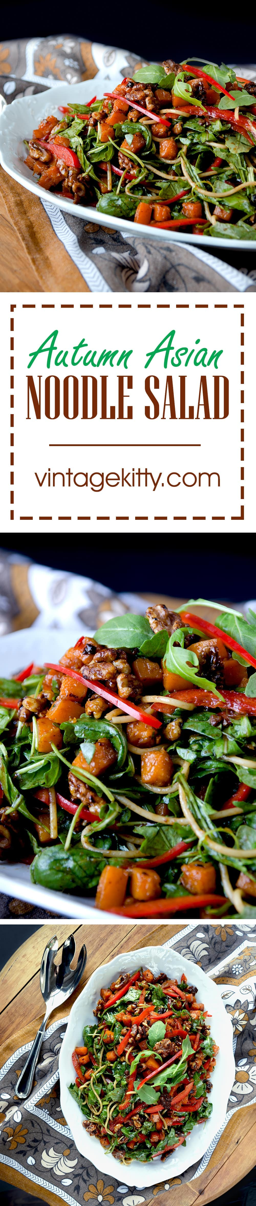 Autumn Asian Noodle Salad is a delicious cold dish that brings freshness and crunch to your holiday table. Candied butternut squash, walnuts, baby arugula, and sweet bell peppers top noodles coated in a black bean dressing. | vintagekitty.com