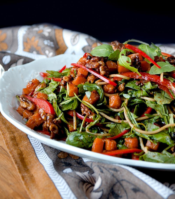 Autumn Asian Noodle Salad Side View - Autumn Asian Noodle Salad