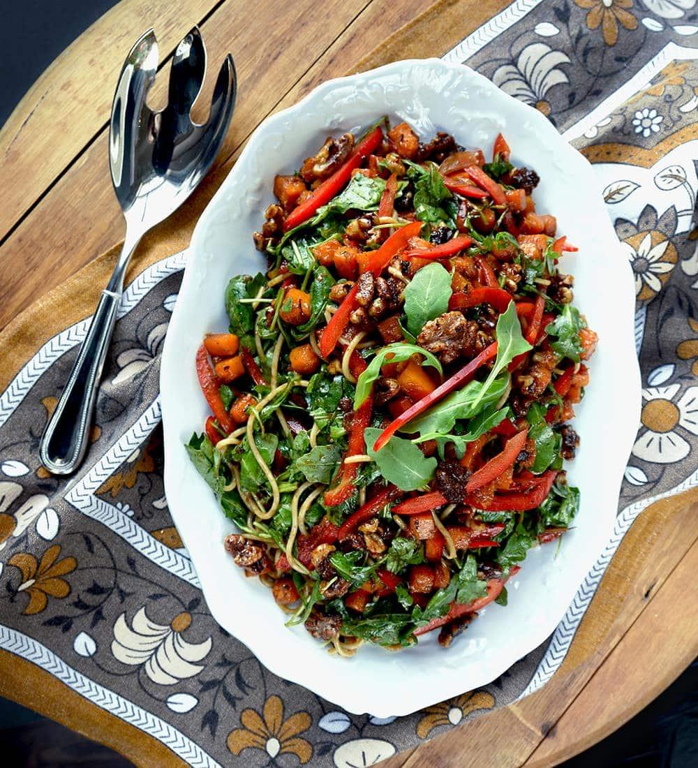 Autumn Asian Noodle Salad Top Down - Autumn Asian Noodle Salad