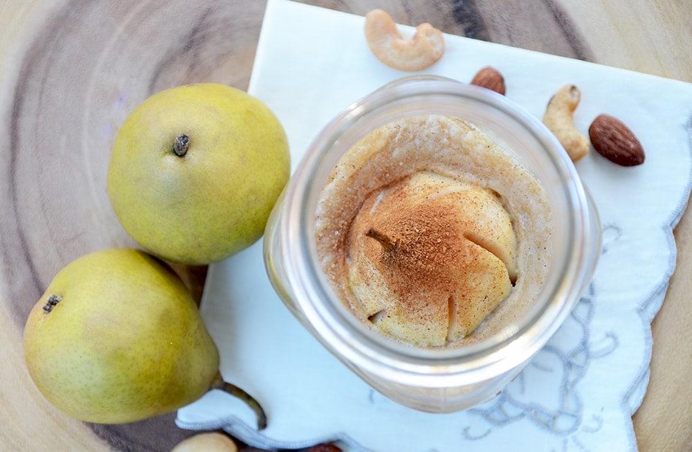 Nutty Pear Crumble Looking Inside Jar Web - Nutty Pear Crumble- Vegan and Gluten Free