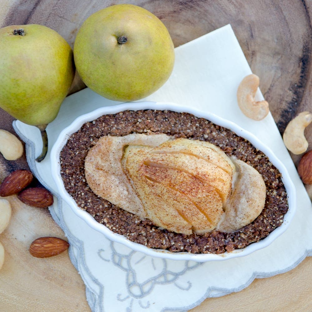 Nutty Pear Crumble in Dish Square Web - Nutty Pear Crumble- Vegan and Gluten Free