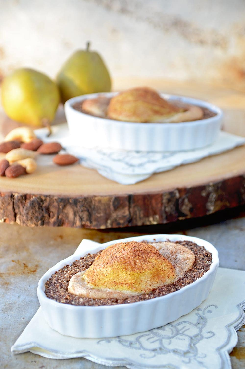Nutty Pear Crumble in Dish Web - Nutty Pear Crumble- Vegan and Gluten Free