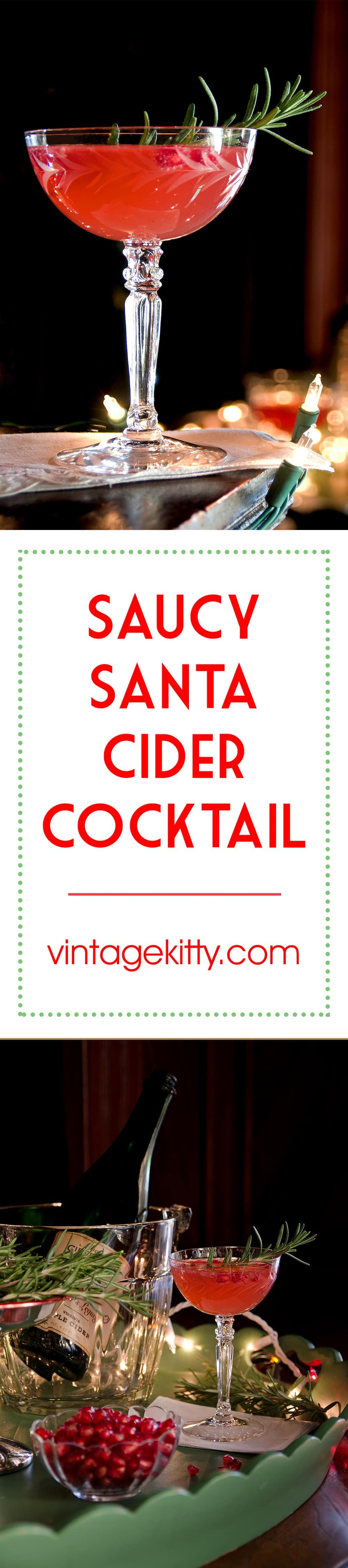 Saucy Santa Cider Cocktail tastes like Christmas! Bubbly hard cider, fresh pomegranate seeds and springs of rosemary come together to make a festive holiday drink. Let's toast to the season! | vintagekitty.com