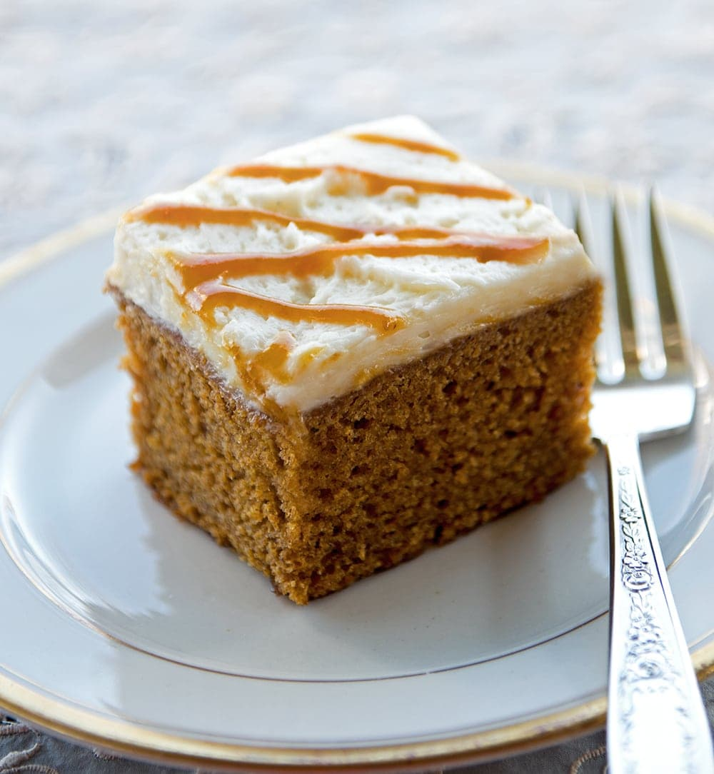 Piece of Pumpkin Beer Cake - Pumpkin Spice Beer Cake