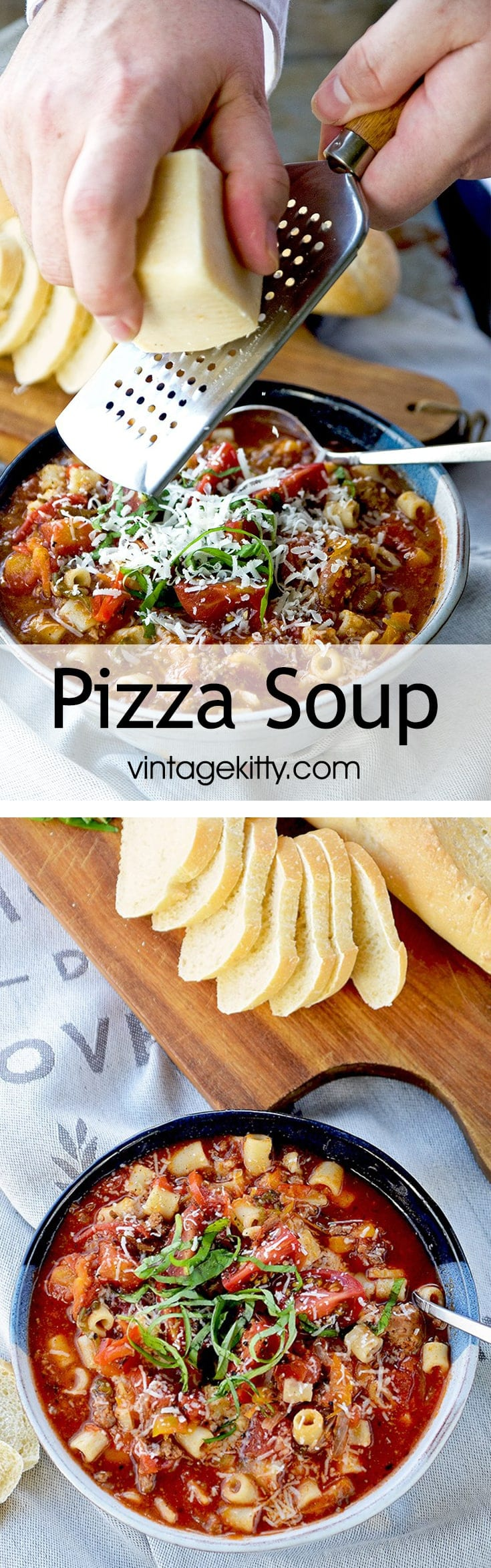 Pizza Soup Pin 1 - Pizza Soup with Peppers, Italian Sausage and Spices