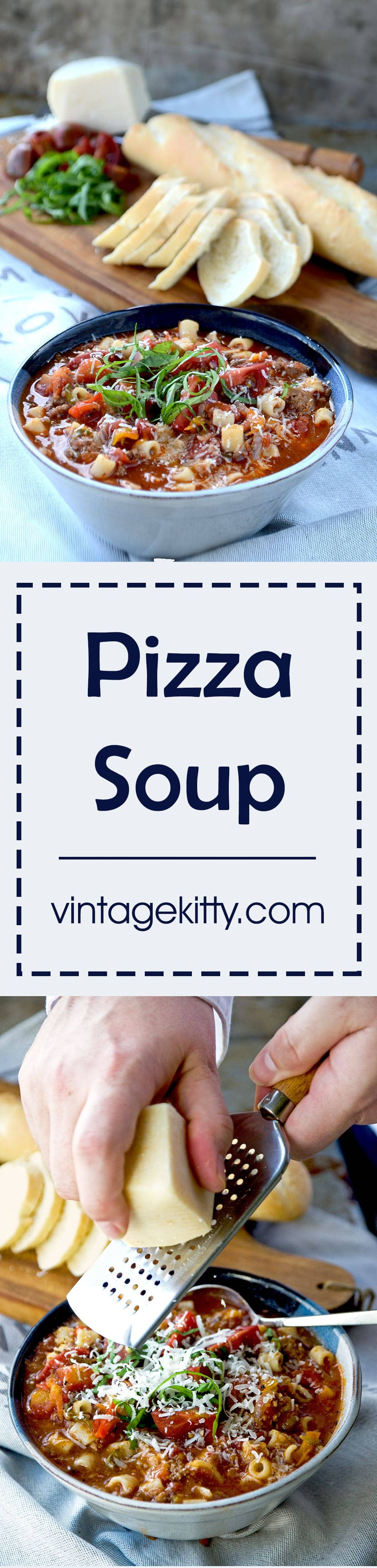 Pizza Soup is a hearty, robust tomato soup filled with Italian flavors and ingredients. It's supremely delicious and can be served as an appetizer or as an entree with a side salad or grilled cheese sandwich. | vintagekitty.com