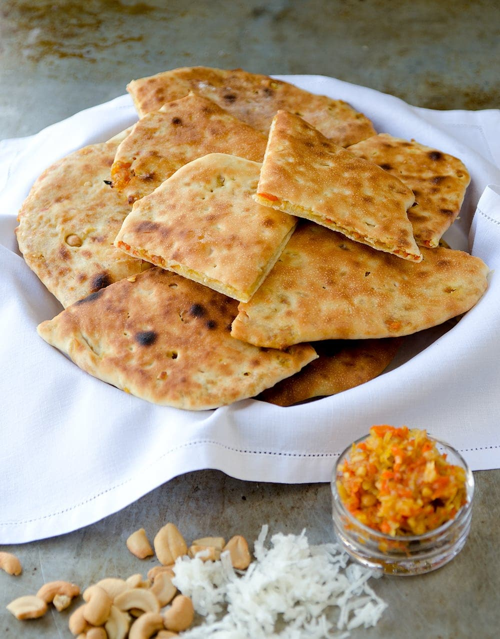 Royal Special Naan 2 Web - Stuffed Naan Recipe with Candied Carrots, Cashews and Coconut