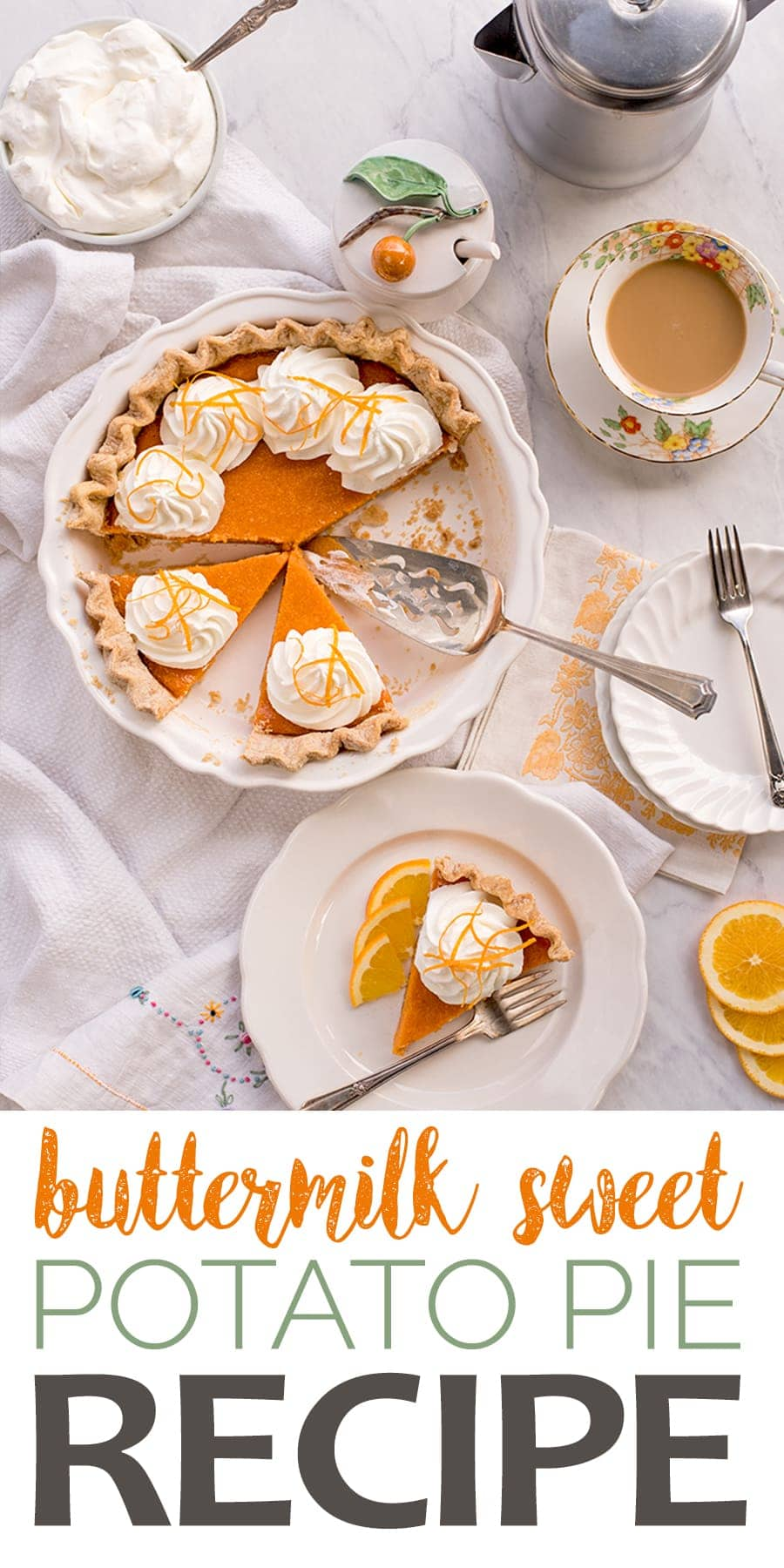 This twist on a classic Southern pie will have you begging for seconds! Buttermilk Sweet Potato Pie is sweet, citrusy and surprisingly easy to make! #sweetpotatopie #pie #sweetpotato #dessertrecipes #pieseason #buttermilkpie