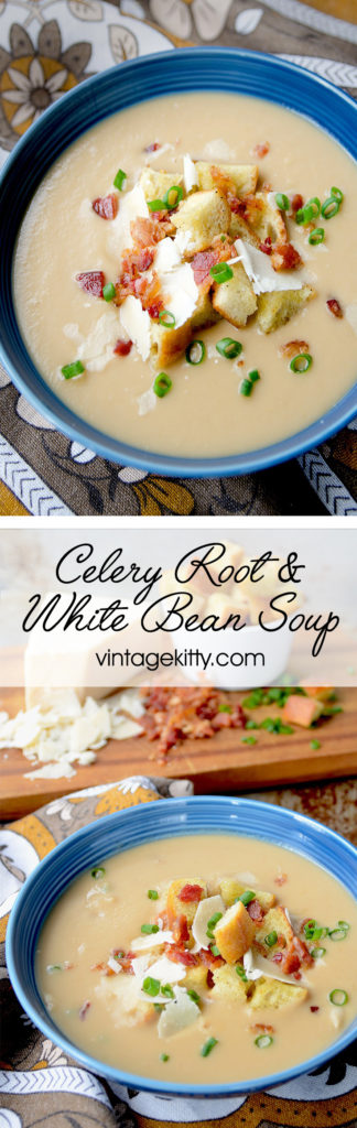 Celery Root and White Bean Soup is a hearty, pureed soup perfect for a chilly winter meal. Hot soup that's rich and creamy? Sounds like a great way to beat old man winter at his game!