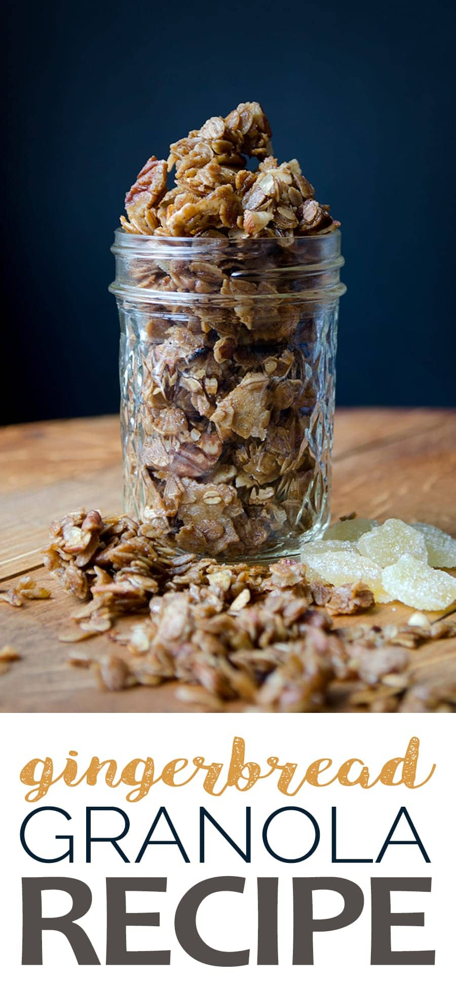 This Gingerbread Granola is super easy to make and great for snacking, yogurt parfaits or as a thoughtful homemade gift. Gingery, sweet, crunchy, nutty and so good, you'll want to eat this granola all year long! #gingerbread #granola #breakfastideas #christmasbreakfast