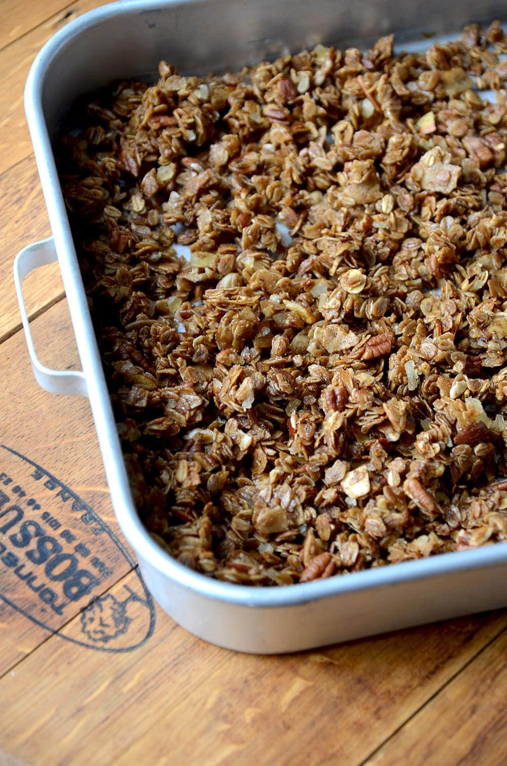 Pan of Gingerbread Granola Web - Gingerbread Granola - Fast & Easy!