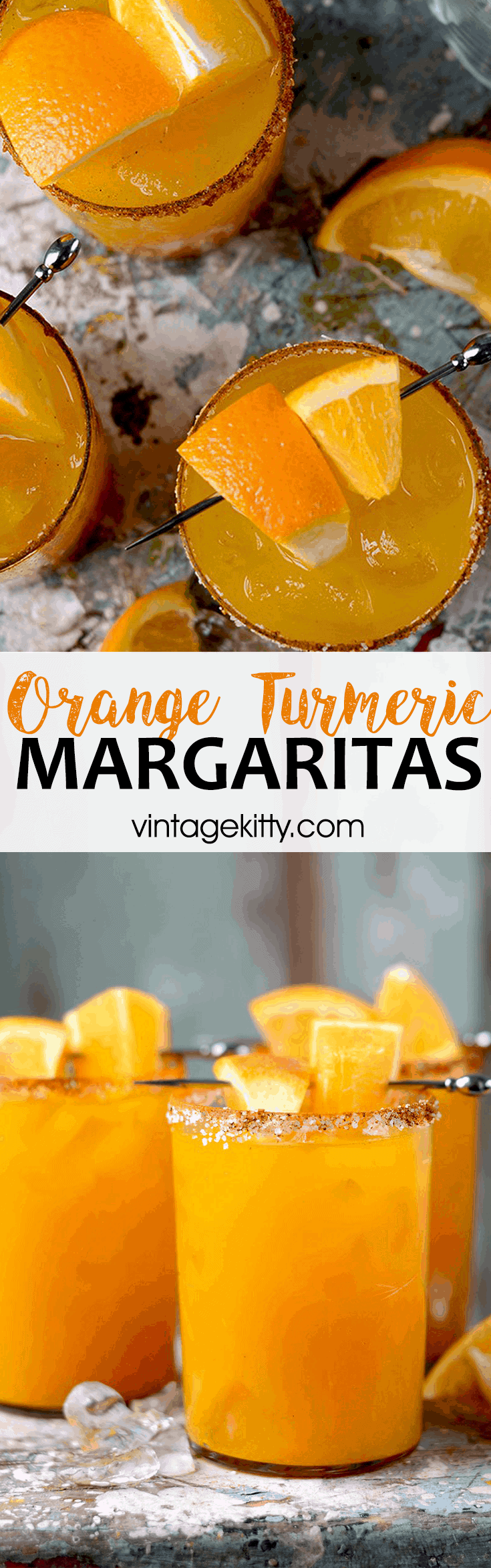 Orange Turmeric Margaritas are a sweet and smoky take on the classic cocktail. Homemade simple syrup. fresh juice and a salty, spiced rim make these drinks extra special but are still easy to make. #turmeric #margaritas #craftcocktails