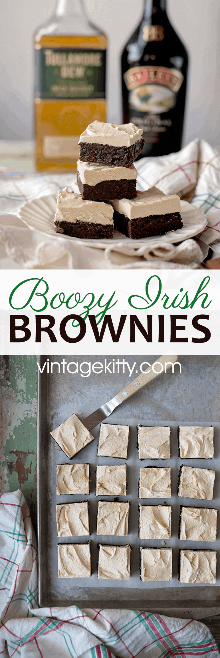 Boozy Irish Brownies have a fudgy chocolate layer that is topped with a whiskey and Irish cream white chocolate ganache. YUM! #stpaddysday #stpatricksday #irishcream #baileys #boozydesserts