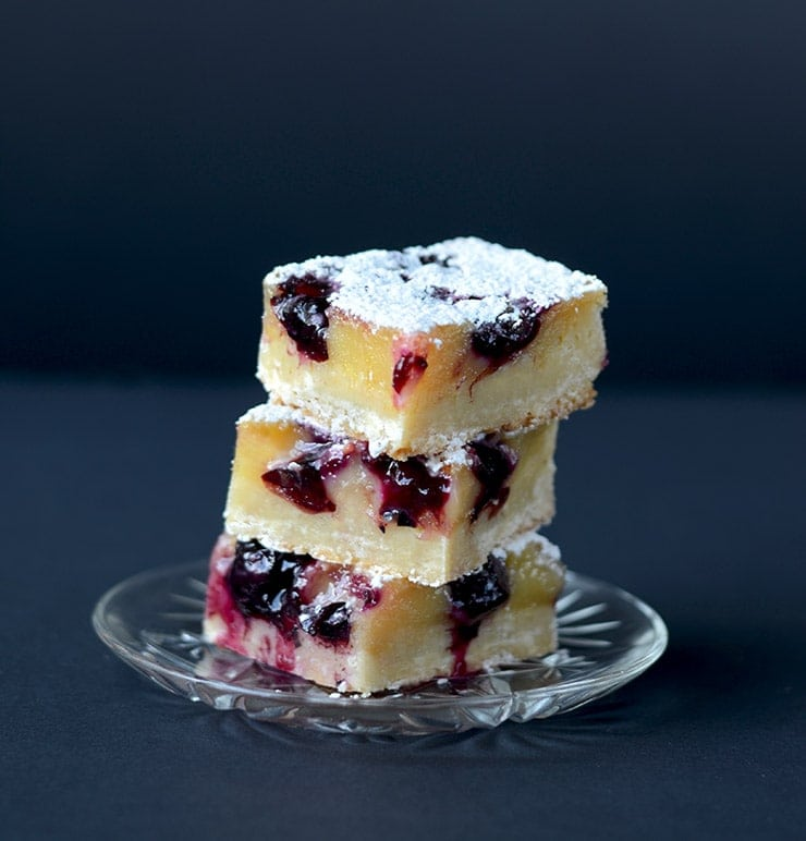 Stack of Blueberry Grapefruit Bars Vertical Web - Blueberry Grapefruit Bars