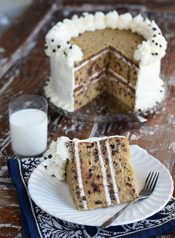 Chocolate Chip Cookie Cake Slice with Milk Web - Chocolate Chip Cookie Cake