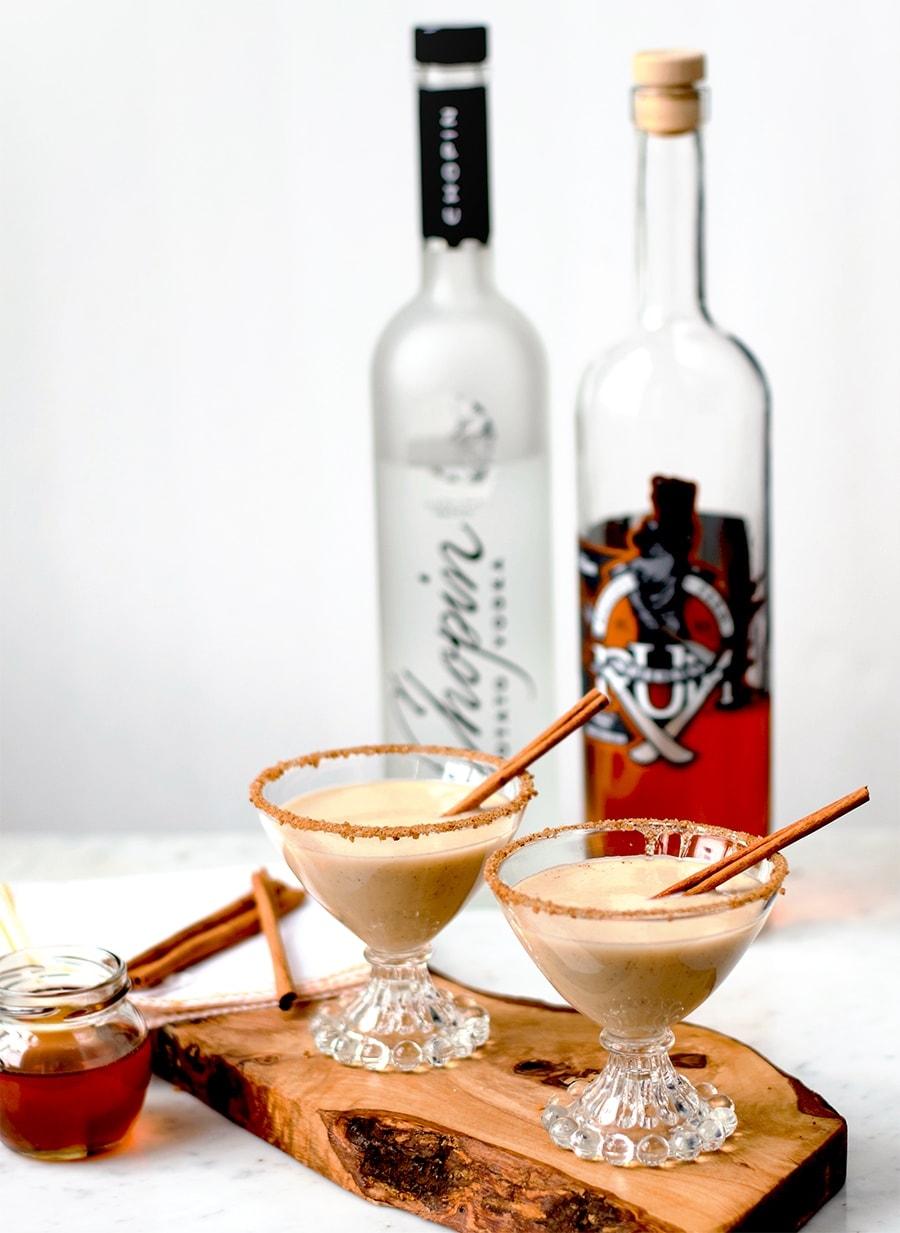 Sopapilla Martinis with Liquor Bottles Web - Sopapilla Martinis