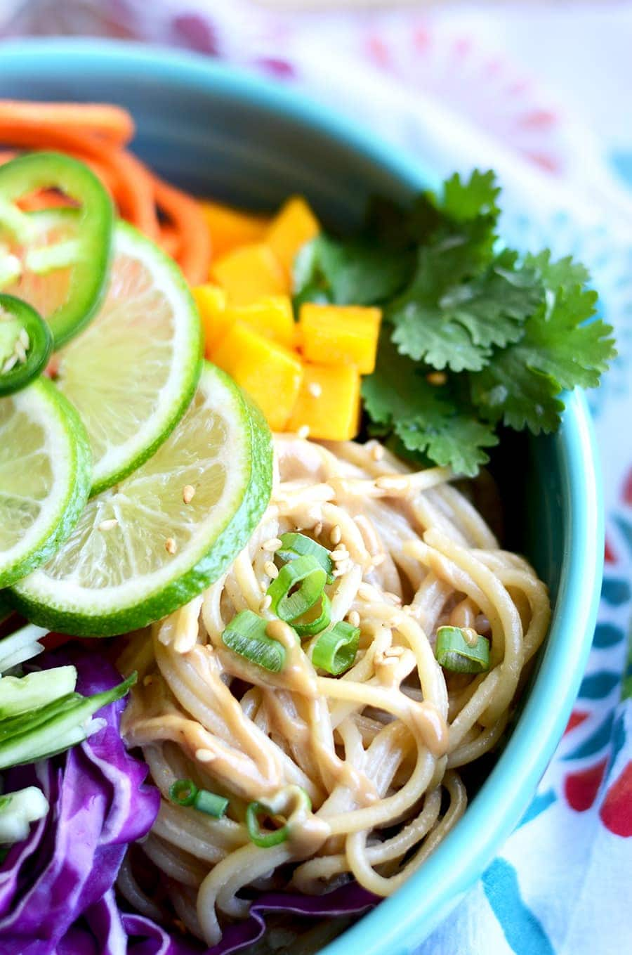 Noodles in Noodle Bowl Web - Sesame Noodle Salad with Cashew Dressing