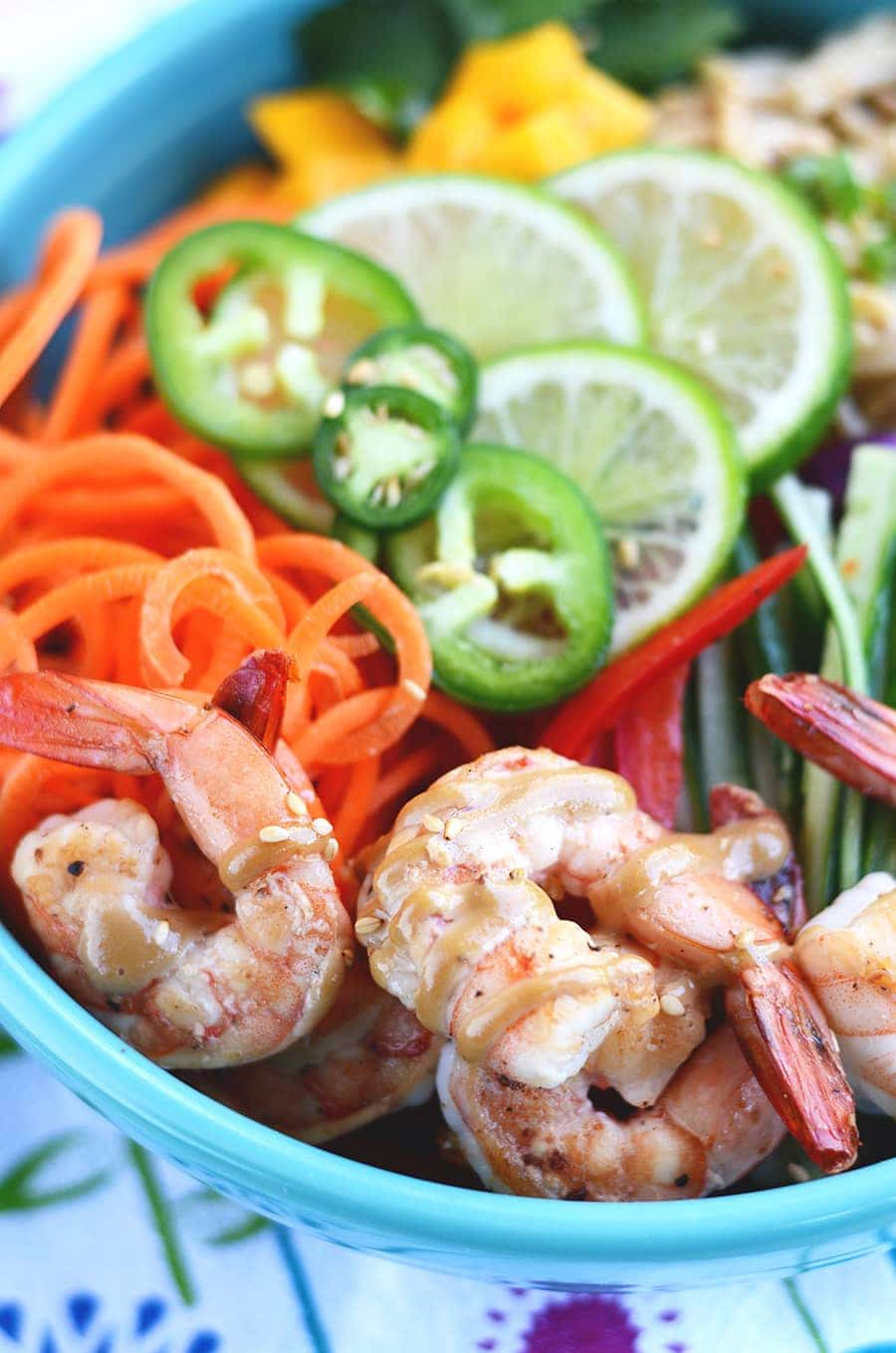 Shrimp in Sesame Noodle Salad with Cashew Dressing