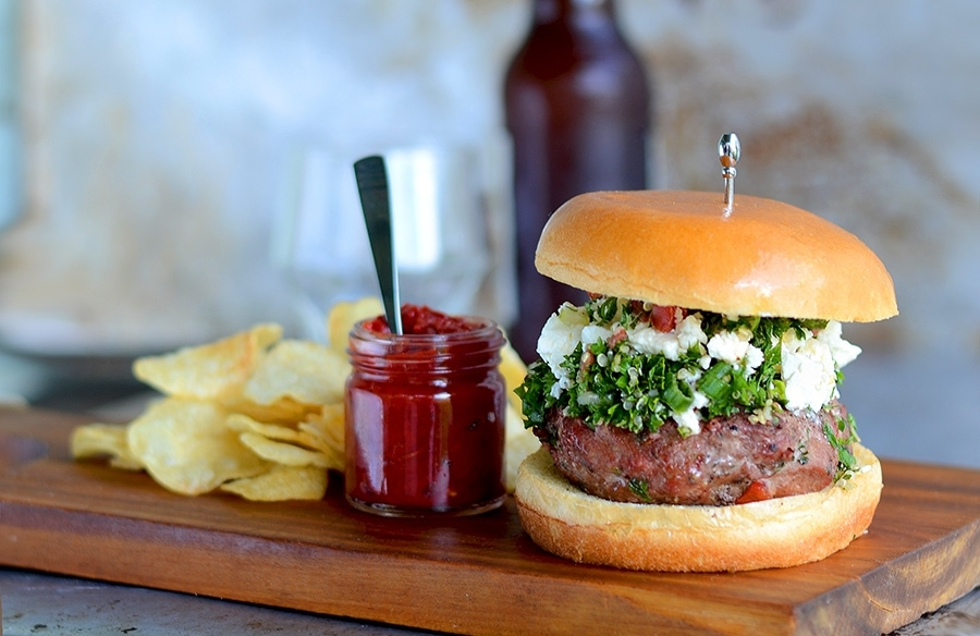 Burger Horizontal Web - Tabouleh Turkey Burgers with Feta and Harissa