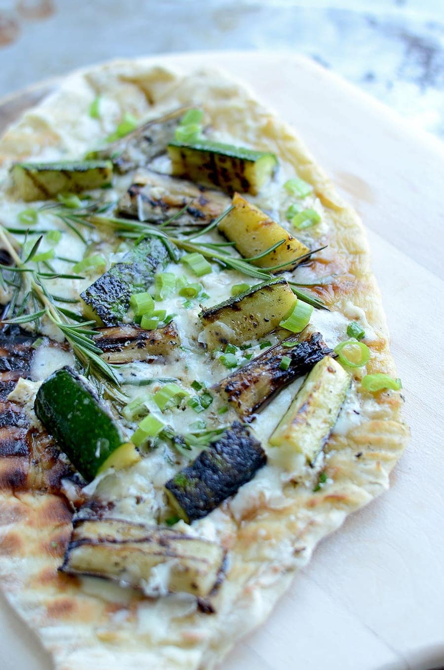 Grilled Vegetable Pizza Vertical Web - Grilled Vegetable Pizza with Lemon Cream Sauce